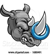 Vector Illustration of Tough Rhino Mascot with a Ringette on His Horn by AtStockIllustration