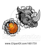 Vector Illustration of Tough Rhino Monster Mascot Holding a Basketball in One Clawed Paw and Breaking Through a Wall by AtStockIllustration