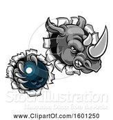 Vector Illustration of Tough Rhino Monster Mascot Holding a Bowling Ball in One Clawed Paw and Breaking Through a Wall by AtStockIllustration