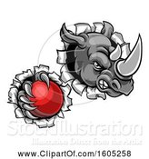 Vector Illustration of Tough Rhino Monster Mascot Holding a Cricket Ball in One Clawed Paw and Breaking Through a Wall by AtStockIllustration