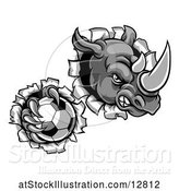 Vector Illustration of Tough Rhino Monster Mascot Holding a Soccer Ball in One Clawed Paw and Breaking Through a Wall by AtStockIllustration