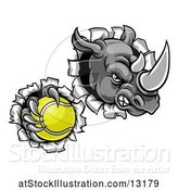 Vector Illustration of Tough Rhino Monster Mascot Holding a Tennis Ball in One Clawed Paw and Breaking Through a Wall by AtStockIllustration