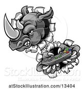 Vector Illustration of Tough Rhino Monster Mascot Holding a Video Game Controller and Breaking Through a Wall by AtStockIllustration