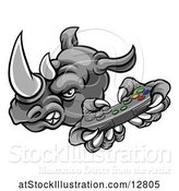 Vector Illustration of Tough Rhino Monster Mascot Holding a Video Game Controller by AtStockIllustration