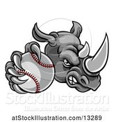 Vector Illustration of Tough Rhino Monster Mascot Holding out a Baseball in One Clawed Paw by AtStockIllustration
