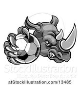 Vector Illustration of Tough Rhino Monster Mascot Holding out a Soccer Ball in One Clawed Paw by AtStockIllustration