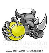 Vector Illustration of Tough Rhino Monster Mascot Holding out a Tennis Ball in One Clawed Paw by AtStockIllustration