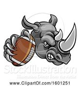 Vector Illustration of Tough Rhino Monster Mascot Holding out an American Football in One Clawed Paw by AtStockIllustration