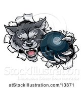 Vector Illustration of Tough Wolf Mascot Holding out a Bowling Ball in One Clawed Paw by AtStockIllustration