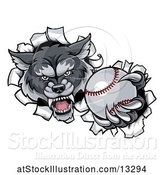 Vector Illustration of Tough Wolf Monster Mascot Holding out a Baseball in One Clawed Paw and Breaking Through a Wall by AtStockIllustration