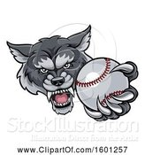 Vector Illustration of Tough Wolf Monster Mascot Holding out a Baseball in One Clawed Paw by AtStockIllustration