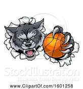 Vector Illustration of Tough Wolf Monster Mascot Holding out a Basketball in One Clawed Paw and Breaking Through a Wall by AtStockIllustration