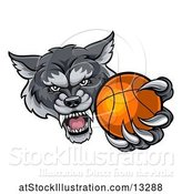 Vector Illustration of Tough Wolf Monster Mascot Holding out a Basketball in One Clawed Paw by AtStockIllustration