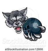 Vector Illustration of Tough Wolf Monster Mascot Holding out a Bowling Ball in One Clawed Paw by AtStockIllustration