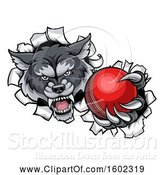 Vector Illustration of Tough Wolf Monster Mascot Holding out a Cricket Ball in One Clawed Paw and Breaking Through a Wall by AtStockIllustration