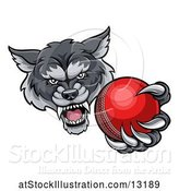 Vector Illustration of Tough Wolf Monster Mascot Holding out a Cricket Ball in One Clawed Paw by AtStockIllustration