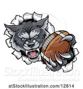 Vector Illustration of Tough Wolf Monster Mascot Holding out a Football in One Clawed Paw and Breaking Through a Wall by AtStockIllustration