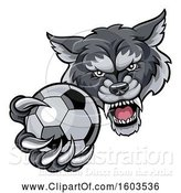 Vector Illustration of Tough Wolf Monster Mascot Holding out a Soccer Ball in One Clawed Paw by AtStockIllustration