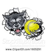 Vector Illustration of Tough Wolf Monster Mascot Holding out a Tennis Ball in One Clawed Paw and Breaking Through a Wall by AtStockIllustration