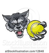 Vector Illustration of Tough Wolf Monster Mascot Holding out a Tennis Ball in One Clawed Paw by AtStockIllustration