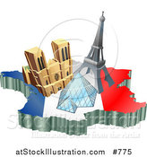 Vector Illustration of Tourist Attractions of Notre Dame De Paris Cathedral, Eiffel Tower, and the Louvre Pyramid over a Map and French Flag by AtStockIllustration