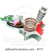 Vector Illustration of Tourist Attractions of the Leaning Tower of Pisa, Roman Coliseum Flavian Amphitheatre and Venice Italy Gondola and Italian Flag by AtStockIllustration