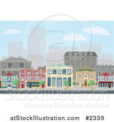 Vector Illustration of Townhomes on an Urban Street Scene with City Skyscrapers in the Distance by AtStockIllustration