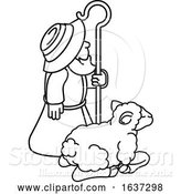 Vector Illustration of Traditional Shepherd and Sheep or Lamb by AtStockIllustration