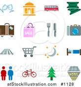 Vector Illustration of Travel Related Icons - Colored Versions by AtStockIllustration