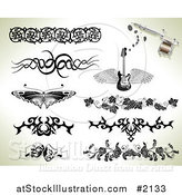 Vector Illustration of Tribal and Ornate Tattoo Designs by AtStockIllustration