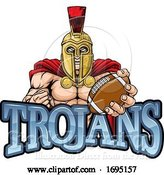 Vector Illustration of Trojan Spartan American Football Sports Mascot by AtStockIllustration