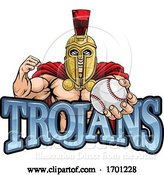 Vector Illustration of Trojan Spartan Baseball Sports Mascot by AtStockIllustration