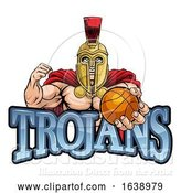 Vector Illustration of Trojan Spartan Basketball Sports Mascot by AtStockIllustration