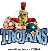 Vector Illustration of Trojan Spartan Bowling Sports Mascot by AtStockIllustration