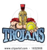 Vector Illustration of Trojan Spartan Tennis Sports Mascot by AtStockIllustration