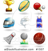 Vector Illustration of Trophy Cup, Rugby Ball, Ping Pong Paddle and Ball, Helmet, Fish, Uniform, Shuttlecock, Golfball on Tee and a Cricket Ball by AtStockIllustration