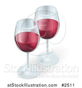 Vector Illustration of Two 3d Glasses of Red Wine by AtStockIllustration