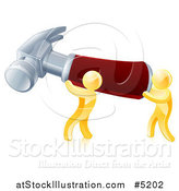 Vector Illustration of Two 3d Gold Men Carrying a Giant Hammer by AtStockIllustration