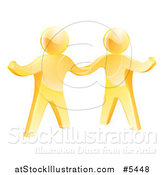 Vector Illustration of Two 3d Gold Men Shaking Hands and One Gesturing by AtStockIllustration