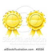 Vector Illustration of Two 3d Golden Medal Rosette Awards by AtStockIllustration