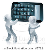 Vector Illustration of Two 3d Silver Men Carrying a Calculator by AtStockIllustration