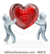 Vector Illustration of Two 3d Silver People Carrying a Red Heart by AtStockIllustration