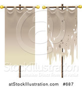 Vector Illustration of Two Banners, One Old, One New by AtStockIllustration