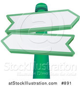 Vector Illustration of Two Blank Arrow Shaped Street Signs Pointing in Different Directions on a Green Pole by AtStockIllustration