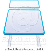 Vector Illustration of Two Blank Blue and White Road Signs by AtStockIllustration