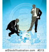 Vector Illustration of Two Businessmen Completing a Blue Jigsaw Puzzle Together by AtStockIllustration