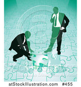 Vector Illustration of Two Businessmen Completing a Green Jigsaw Puzzle Together by AtStockIllustration