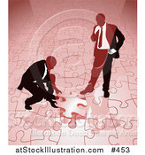 Vector Illustration of Two Businessmen Completing a Red Jigsaw Puzzle Together by AtStockIllustration