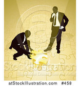 Vector Illustration of Two Businessmen Completing a Yellow Jigsaw Puzzle Together by AtStockIllustration
