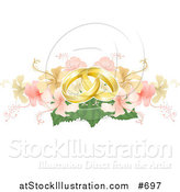 Vector Illustration of Two Entwined Golden Wedding Rings on a Yellow and Pink Hibiscus Bouquet by AtStockIllustration